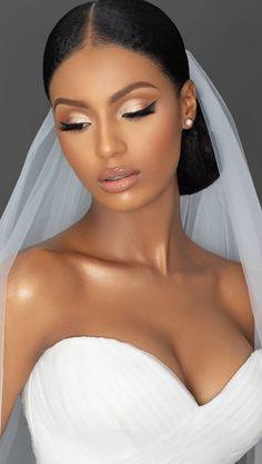 Black Wedding Makeup, Best Wedding Makeup, Makeup For Black Skin, Bridal Hair And Makeup, Wedding Hair And Makeup, Hair Makeup, Simple Wedding Makeup, Makeup For Brides, Black Makeup Looks