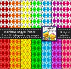 Brighten up your products with our Rainbow Argyle Background Paper Bundle! 14 colourful, as well as, vibrant PNG file digital papers are included in this set! Once purchased, backgrounds can be used for personal or commercial purposes. Kindly remember to include a link back to our TPT store: http://www.teacherspayteachers.com/Store/2-Smart-Chicks Happy creating!