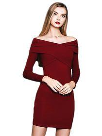 Off Sholder Slash Collar Bodycon Mini Dress img