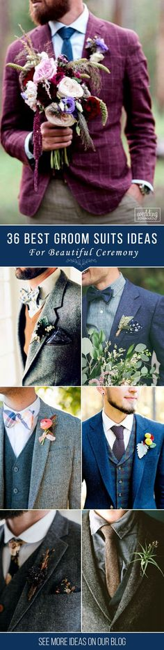 Fresh flowers in the buttonhole finish off these outfits perfectly. 36 The Most Popular Groom Suits ❤️ And the choice of groom suits becomes one of the most important events.The perfect suit well fits a groom and suits him, reflects his personality. See more: http://www.weddingforward.com/groom-suits/ ‎#groom #groomsmen