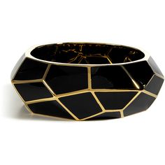 LUCAS JACK Black Art Deco Gold Plated Bracelet (345 CAD) ❤ liked on Polyvore featuring jewelry, bracelets, accessories, bangles, pulseras, holiday jewelry, gold plated jewellery, bracelets bangle, honeycomb jewelry and art deco inspired jewelry