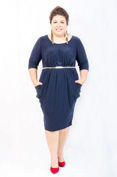 Plus Size Mercy Dress in Dark Blue via Etsy.