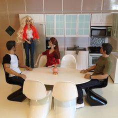 1:6 scale Oval Table for Six - Fashion Royalty, Silkstone, Barbie, or Diorama  Dimensions: Approximately 6 1/2W x 11L x 5 1/8H