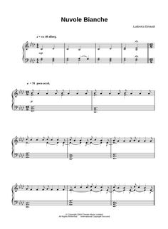 Nuvole bianche by Ludovico Einaudi piano sheet music