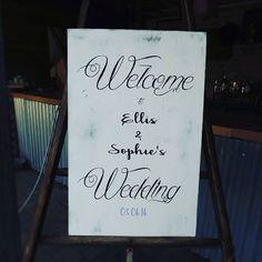Shabby chic welcome board,  Perfect touch for the perfect wedding.  Picture credit = 'Er'  Venue @thenightyard  #wedding #engaged #signs #photographer #create #rustic #weddingideas #weddinginspiration #weddingsigns #instapicoftheday #bride #groom #newbusiness #venue #weddingvenue #homedecor #home #engaged #etsyseller #etsyshop #etsy #realwedding #vintage #rusticwedding #handmade