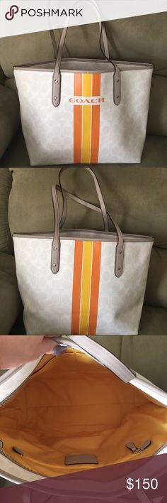 Nwot coach varsity city zip tote❤️ Missing hang tag. Otherwise new and unused. One of my favorite totes from the newer coach collections! Material is pvc. Coach Bags Totes