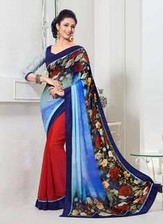 Give a unique sheen to your overall appearance like divyanka with this blue and maroon shade bamber georgette half n half saree. This half n half saree featuring booti work, flower print and jacquard ...