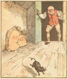 """The rat ate the malt..."" classic nursery rhyme.   Evans, Edmund,1826-1905--Wood-engraver"