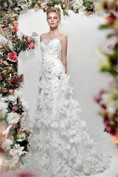 A Line Strapless Papilio Wedding Dress PWD136  $349.00 (USD)   www.idolto.com offer Wedding Dresses, Bridesmaid Dresses, Evening Dresses ,Prom Dresses ,Flower Girl Dresses And Mother Of The Bridal Dresses. www.idolto.com