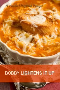 Lasagna Soup....A Bobby Dean Healthy Recipe!  Sounds absolutely Delicious!!  Makes 8 cups.  Per Serving (1 cup) 225 Cal (27% from Fat, 42% from Protein, 31% from Carb); 23 g Protein; 7 g Tot Fat; 2 g Sat Fat; 2 g Mono Fat; 17 g Carb; 2 g Fiber; 4 g Sugar; 108 mg Calcium; 3 mg Iron; 826 mg Sodium; 53 mg Cholesterol