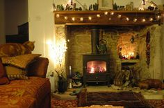 This is my dream room! Especially the log burner Bird Murray Witch Cottage, Cozy Cottage, Small Space Living, Small Spaces, English Country Manor, Log Burner, Cool Rooms, My Dream Home, Ideal Home