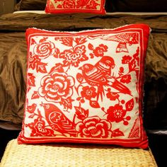 Red bird and flower pillow cover for couch Chinoiserie paper cut sofa cushions cover