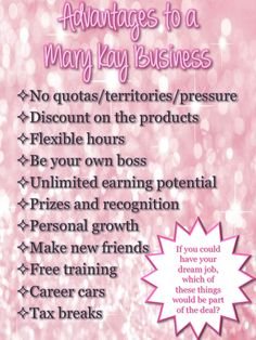 I love my Mary Kay business!! Ask me why! Visit my website at www.marykay.com/cmausolf or call/text me at 989.917.0026