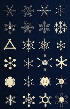 Gorgeous illustrations of the structure of snowflakes circa Most are 6 pointed shapes Christmas Art, Christmas Decorations, Xmas, Christmas Ornaments, Sacred Geometry, Illustrations, Punch Art, Pattern Art, Textures Patterns
