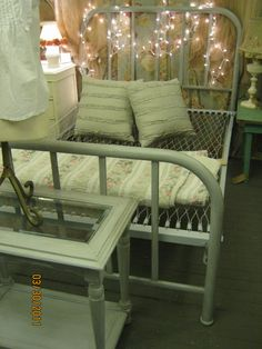 Vintage Iron Bed.  I had one of these when I was little