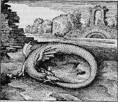 Ouroboros - An ancient serpent swallowing its own tail and forming a circle.