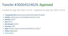 My sixth payment from ACX No-6 I WORK FROM HOME less than 10 minutes and I manage to cover my LOW SALARY INCOME. If you are a PASSIVE INCOME SEEKER, then AdClickXpress (Ad Click Xpress) is the best ONLINE OPPORTUNITY for you. http://www.adclickxpress.com/?r=v2ufs9zs9&p=aa