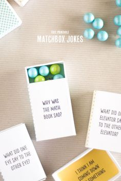 free printable matchbox jokes! Perfect for a little surprise in the kids' lunches.