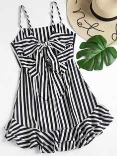 Black Spring No Striped Bowknot and Ruffles Sleeveless Mini Spaghetti A-Line Casual and Going Casual Knotted Back Striped Cami Dress Cute Summer Outfits, Trendy Outfits, Cute Outfits, Trendy Dresses, Summer Shoes, Girls Fashion Clothes, Girl Fashion, Fashion Dresses, Casual Clothes
