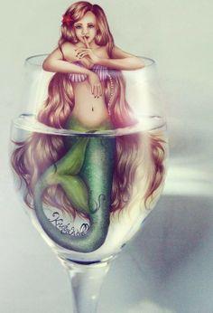 Kristina Webb Art: Mermaid in a Wine Glass