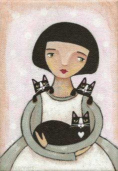 """""""Girl with Cats"""" by Ryan Conners -  the clean lines, the peaceful and contented feeling this exudes."""
