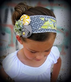 Yellow Gray and Green Fabric Headband