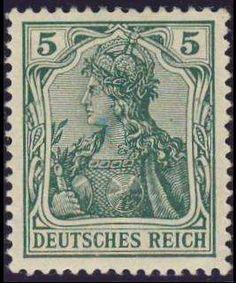 Germany, German Empire, German Reich 1905 / 13, Germania, peace printing, 5 Pfg. dark emerald green, mint never hinged superb, expertized Jäschke BPP (postfr., Michel-no. 85 Ib / Michel EUR 180,). Price Estimate (8/2016): 35 EUR. Unsold.