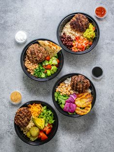 Greek Burger Bowl Ingredients Gluten Free Recipes For Lunch, Quick Dinner Recipes, Healthy Recipes, Healthy Food, Easy Recipes, Meal Prep Containers, Meal Prep Bowls, Greek Burger, How To Cook Burgers