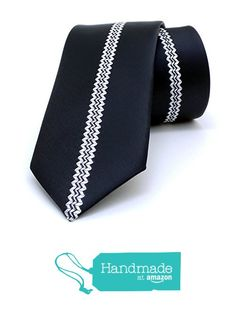 "Black and white striped men's tie 6 cm (2,36"") SL-195 from Nazo Design https://www.amazon.com/dp/B01FW1J0S4/ref=hnd_sw_r_pi_dp_4Rs6xbNGBCK0V #handmadeatamazon #nazodesign"