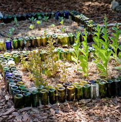Reuse Wine Bottles as Garden Edging on Lifehacker from Readymade