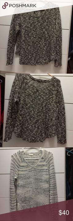 """2 Eileen Fisher sweaters Two Eileen Fisher sweaters one black and white 37%. Linen, 27% cotton, 26% viscose, 10% nylon. 21-25"""" long shirttail hem. Sleeves 17 1/2"""" long from underarm. Chest 20"""" from underarm across.  White and gray sweater 55% cotton 45% nylon. 24 """" from shoulder to bottom, sleeves 19"""" from underarm chest 18"""" across. EUC smoke and pet free home. No stains, wear or tears. Just too short for my liking. Eileen Fisher Sweaters Crew & Scoop Necks"""