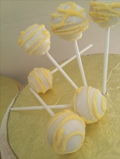 Yellow Cake Pops, Cupcakes, Cakepops, Party Ideas, Desserts, Sweets, Tailgate Desserts, Cake Pop, Cup Cakes