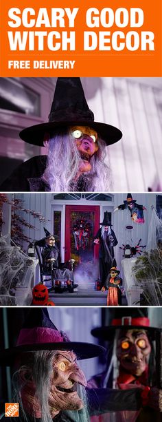Find scary good witches for less at The Home Depot. With free delivery and a wide variety of scary Halloween decor, you can easily turn your house into a haunted house. Click to shop witches and other frightening decor, available only at The Home Depot.
