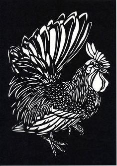 創作きり絵 『鶏④(にわとり)』                                                                                                                                                                                 もっと見る