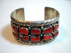 Coral & Sterling Silver Wide Cuff  by Native by bodaciousjewels, $375.00