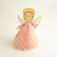 Vintage Honeycomb Angel Christmas Decoration. I ADORE honeycomb decorations.