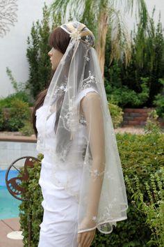 "Champagne and Ivory Lace Bridal Cap Veil, Custom ""Avery""  Bridal Cap Veils by LasVegasVeils"
