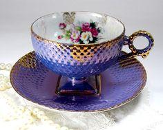Vintage JAPAN Tea Cup and Saucer Dark by TeacupsAndOldLace on Etsy