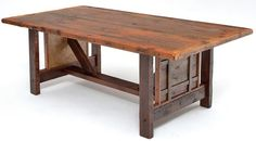 The Barnwood Dining Table Heritage Collection Design 2's large-scale framed woven design begs to be displayed in a large and rustic dining space. The hand craftsmanship is equally artistic and simple. Year-after-year, this table will provide ample room for the whole family, invited guests, and those who simply would like to pop-in and catch-up over