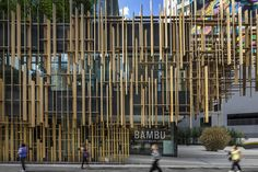 Kengo Kuma & Associates has created a wooden curtain and concrete-patterned facade for the first outpost of Japan House in São Paulo, Brazil