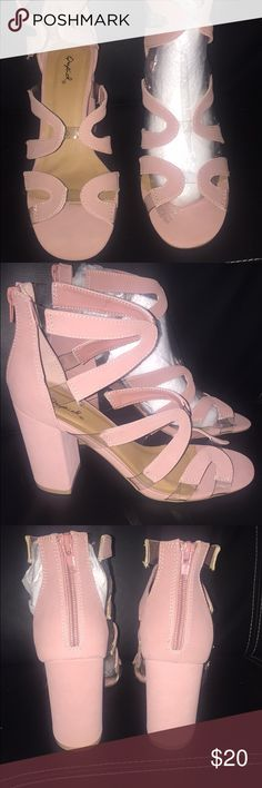 "Brand New Blush Pink Strappy Heels These strappy caged chunky sandals are brand new! I just received these in the mail and love them but unfortunately they were a bit big on me. If I don't sell here then I'll just return them. Clear straps at the sole and center for a super cool ""floating"" straps look. These look amazing! Charlotte Russe Shoes Heels"
