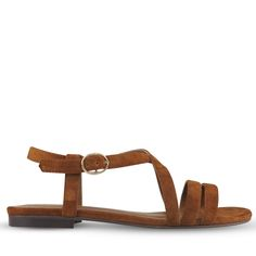 Crafted from soft and silky whiskey suede, these casual sandals are the perfect addition to any weekend wardrobe. With elegant crossover straps and a touch of hardware at the buckle, Tobby is ideal for maxis, shorts and everything in between! Belt, Maxis, Sandals, Crossover, Whiskey, Casual, British, Hardware, Touch