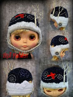 No. 36 - Midnight Flurry | Flickr: Intercambio de fotos Doll Clothes Patterns, Clothing Patterns, Kids Hats, Hat Making, Blythe Dolls, Projects To Try, Winter Hats, Crochet Hats, Beanie