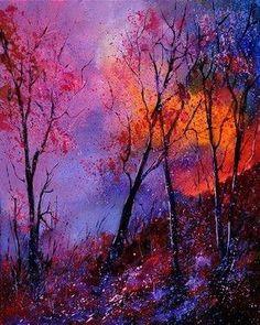 "Saatchi Online Artist: Pol Ledent; Oil, 2011, Painting ""magic trees"" by melva"