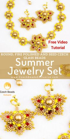 Try to follow our Summer Jewelry Set video tutorial!  | SAVE it!| www.CzechBeadsExclusive.com #czechbeadsexcluisve #czechbeads