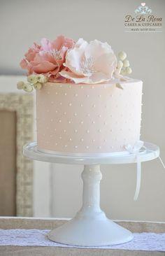 Birthday Cake Decorating Fondant Simple New Ideas Pretty Cakes, Cute Cakes, Beautiful Cakes, Simply Beautiful, Bolo Floral, Floral Cake, Wedding Cakes With Cupcakes, Cupcake Cakes, 2 Tier Wedding Cakes