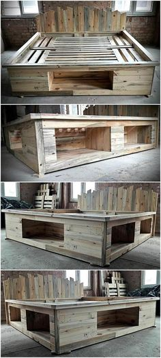 wood pallets can be modified into anything even a bed. Here we are going to present a repurposed wood pallet bed frame which also contains the storage option and you. wood pallets home decor Wood Pallet Beds, Pallet Bed Frames, Diy Pallet Bed, Wood Beds, Diy Pallet Projects, Wooden Pallets, Pallet Couch, Pallet Bed Lights, Pallett Bed