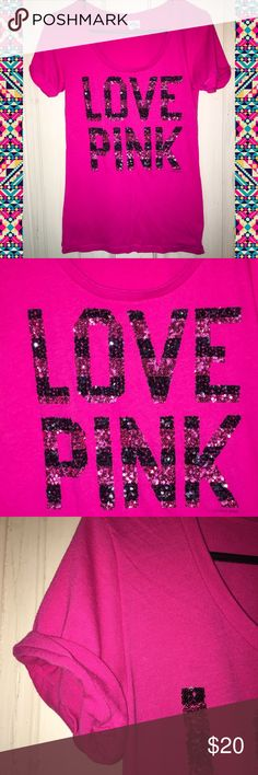 Victoria's Secret PINK Sequin Graphic Tee Shirt Size: small (S) could potentially fit a fitted medium (M)  Brand: Victoria's Secret, PINK By VS  Condition: good used  Details: this is a PINK tee with stripes love pink logo in black and pink in full Sequin across the front. Scoop neck design. Has rolled cuff design. Does have piling. PINK Victoria's Secret Tops Tees - Short Sleeve