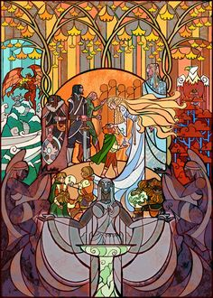 Scenes from Lord of the Rings illustrated as brilliant stained glass windows