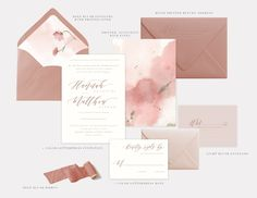 invitations, wedding invitation suite, wedding invitations, pink, mauve, rust, dusty rose https://www.papelnco.com/